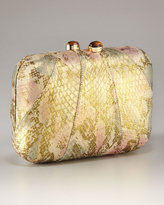 Morley Snakeskin Gold Mini Box Clutch With Drop In Chain