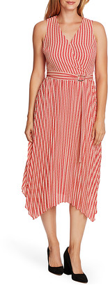 Vince Camuto Women's Casual Dresses APRCT - Apricot & Cream Geometric Pleated Sleeveless Dress - Women