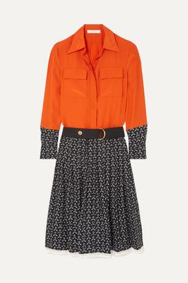 Chloé Lace-trimmed Printed Silk Crepe De Chine Dress - Orange
