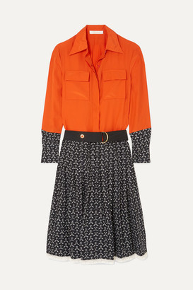 Chloé Lace-trimmed Printed Silk Crepe De Chine Dress - Orange