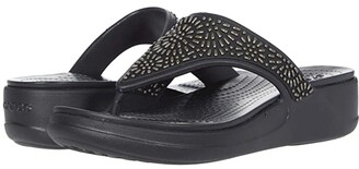 Crocs Monterey Diamante Wedge Flip (Black) Women's Wedge Shoes