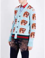 Gucci Tiger-motif Wool Cardigan