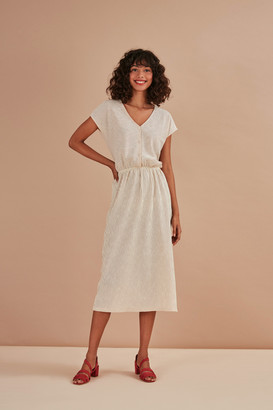 Des Petits Hauts Ecru Tawny Kacine V Neck Dress - 0