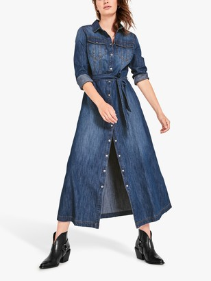 Hush Emily Denim Maxi Shirt Dress, Blue