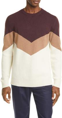 Eleventy Chevron Cashmere Crewneck Sweater