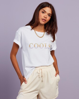 Cools Club - Women's White Printed T-Shirts - Cools Bloc Tee - Size 6 at The Iconic