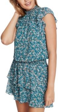 1 STATE Tiered Printed Mini Dress