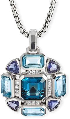 David Yurman Novella Mosaic Blue Topaz and Diamond Pendant