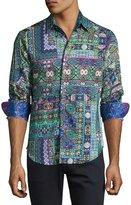 Robert Graham Garland Long-Sleeve Sport Shirt, Green