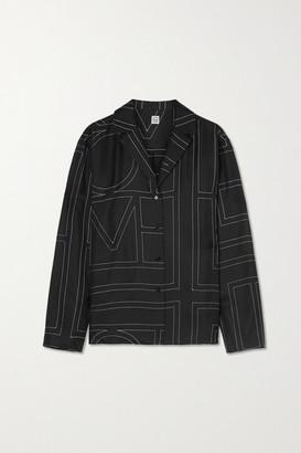 Totême Sanvile Embroidered Silk-satin Shirt - Black