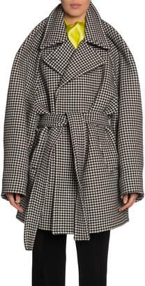 Balenciaga Houndstooth Wool-Cashmere Coat