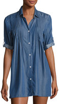 Tommy Bahama Cotton Chambray Pintuck Tunic Coverup, Blue