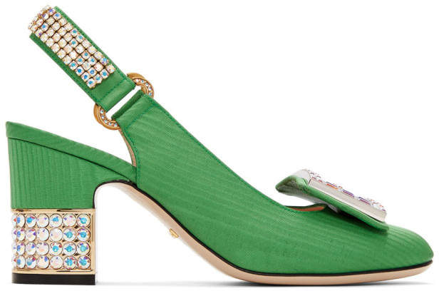 Gucci Green Moire Madelyn Slingback Heels