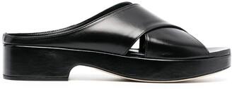 BY FAR Cross-Front Platform Sandals