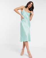 Ghost sherry satin slip midi dress