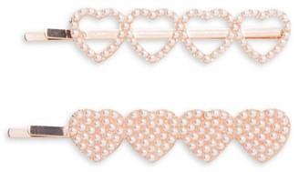 Bari Lynn Faux Pearl 2-Piece Heart Clip Set