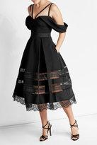 Self-Portrait Draped Crepe Dress with Lace Detail