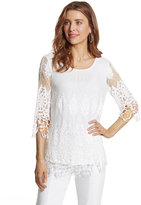 Chico's Embroidered Mesh Raina Top