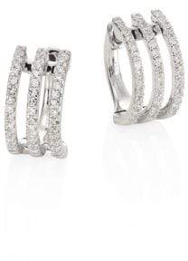 Ef Collection Multi Huggie Diamond& 14K White Gold Earrings