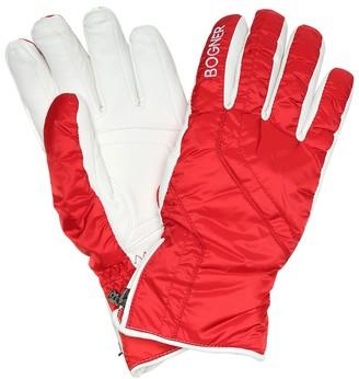 Bogner Leather-trimmed ski gloves