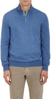 Barneys New York MEN'S HALF-ZIP MOCK TURTLENECK SWEATER