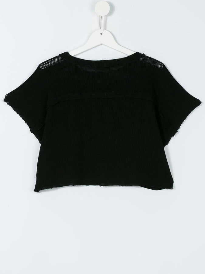 Andorine open knit cropped T-shirt