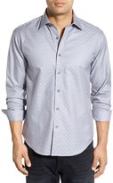 Bugatchi Men's Big & Tall Shaped Fit Solid Check Weave Sport Shirt