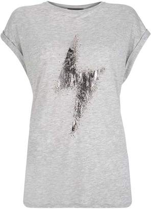 Mint Velvet Grey Beaded Lightning T-Shirt