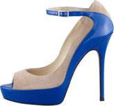 Jimmy Choo Tami Suede Patent Pump, Nude/Blue