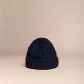 Burberry Aran Knit Wool Cashmere Beanie