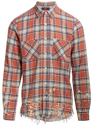 Amiri Splatter Distressed Plaid Button-Front Shirt