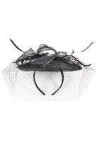 Quiz Black Glitter Net Headband Fascinator