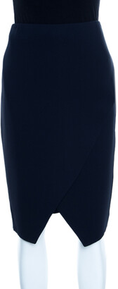 Ralph Lauren Navy Blue Silk Crepe Faux Wrap Kristen Skirt M