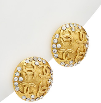 Chanel Gold-Tone & Crystal 4 Cc Round Clip-On Earrings