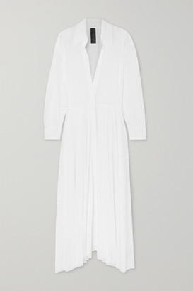 Norma Kamali Pleated Gauze Maxi Dress