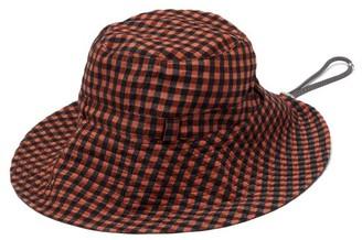 Ganni Logo-patch Gingham-seersucker Bucket Hat - Red Print