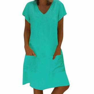 Leedy Clothing LEEDY Summer Dresses for Women Short Sleeve V-Neck Pocket Bohemian Casual Large Size Loose Dress Navy