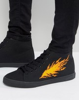 Asos Lace Up Sneakers In Black With Fire Embroidery