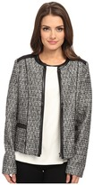 NYDJ Petite Petite Metallic Leather Tweed Jacket