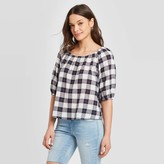 Universal Thread Women's Plaid Bubble 3/4 Sleeve Round Neck Top - Universal ThreadTM