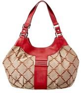 Longchamp Logo Jacquard & Leather Shoulder Bag.