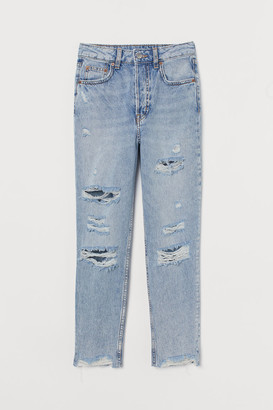 H&M Slim Mom Jeans Trashed - Blue