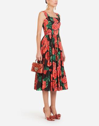 Dolce & Gabbana Midi Dress In Poplin With Laceleaf Print