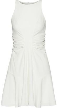Halston Ruched Crepe Mini Dress