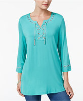 JM Collection Lace-Up Studded Tunic, Only at Macy's