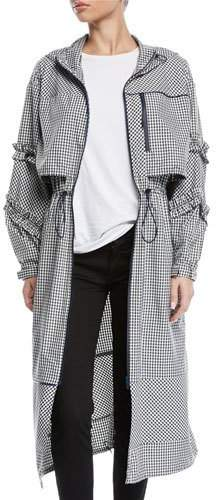 Hooded Ruffle Gingham-Print Long Parka Jacket
