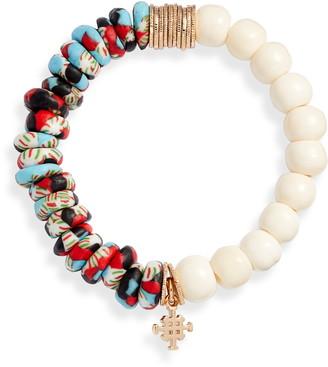 Akola Glass & Bone Beaded Stretch Bracelet