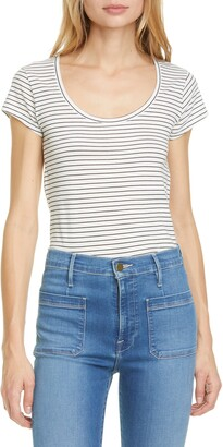 Frame Le Scoop Stripe Organic Cotton T-Shirt