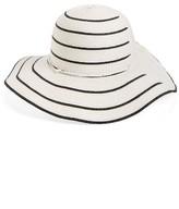 David & Young Women's Stripe Straw Floppy Hat - White
