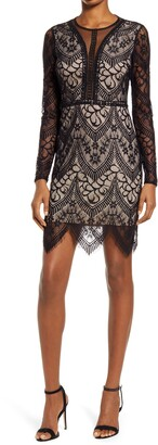 Lulus Totally Adored Lace Long Sleeve Dress
